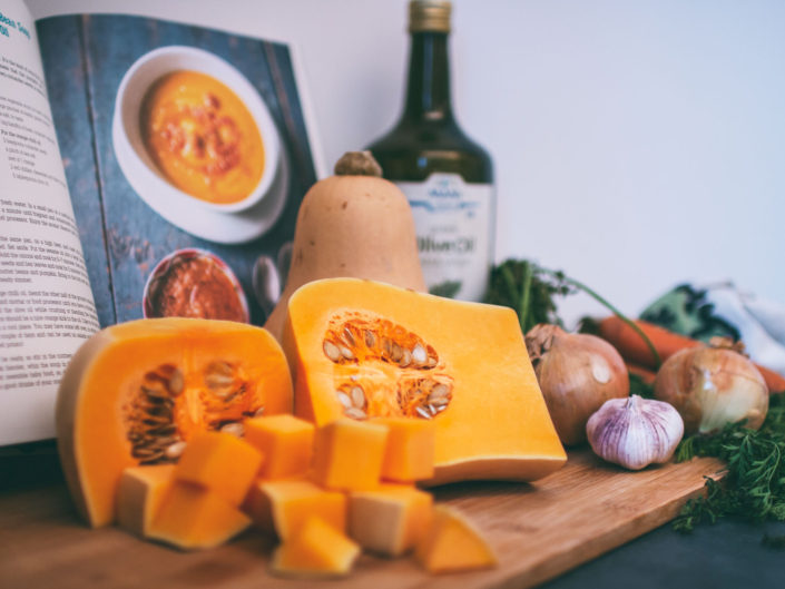 Butternut squash recipe commercial photography