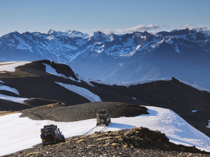 Land Rover Defenders in the Pyrenees near Andorra