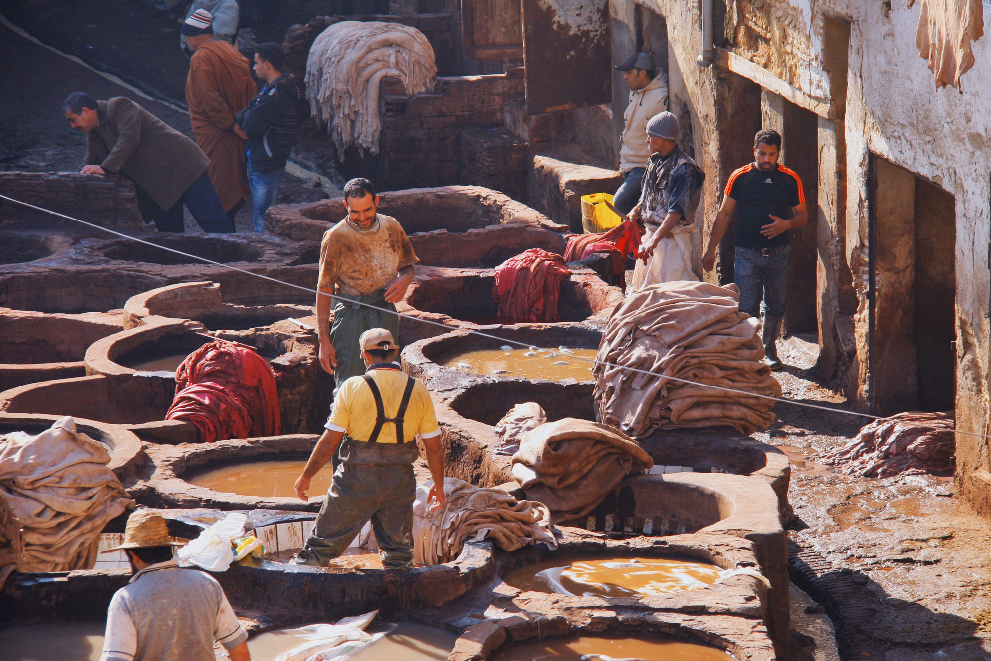 Tanneries in Fez Morocco